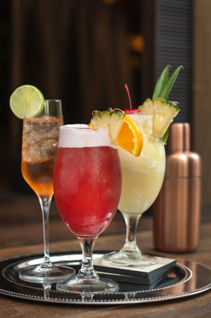 From left to right - Tuxedo, Singapore Sling, Classic Pina Colada