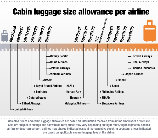 Reveals costs for excess cabin luggage for Cabin bag size
