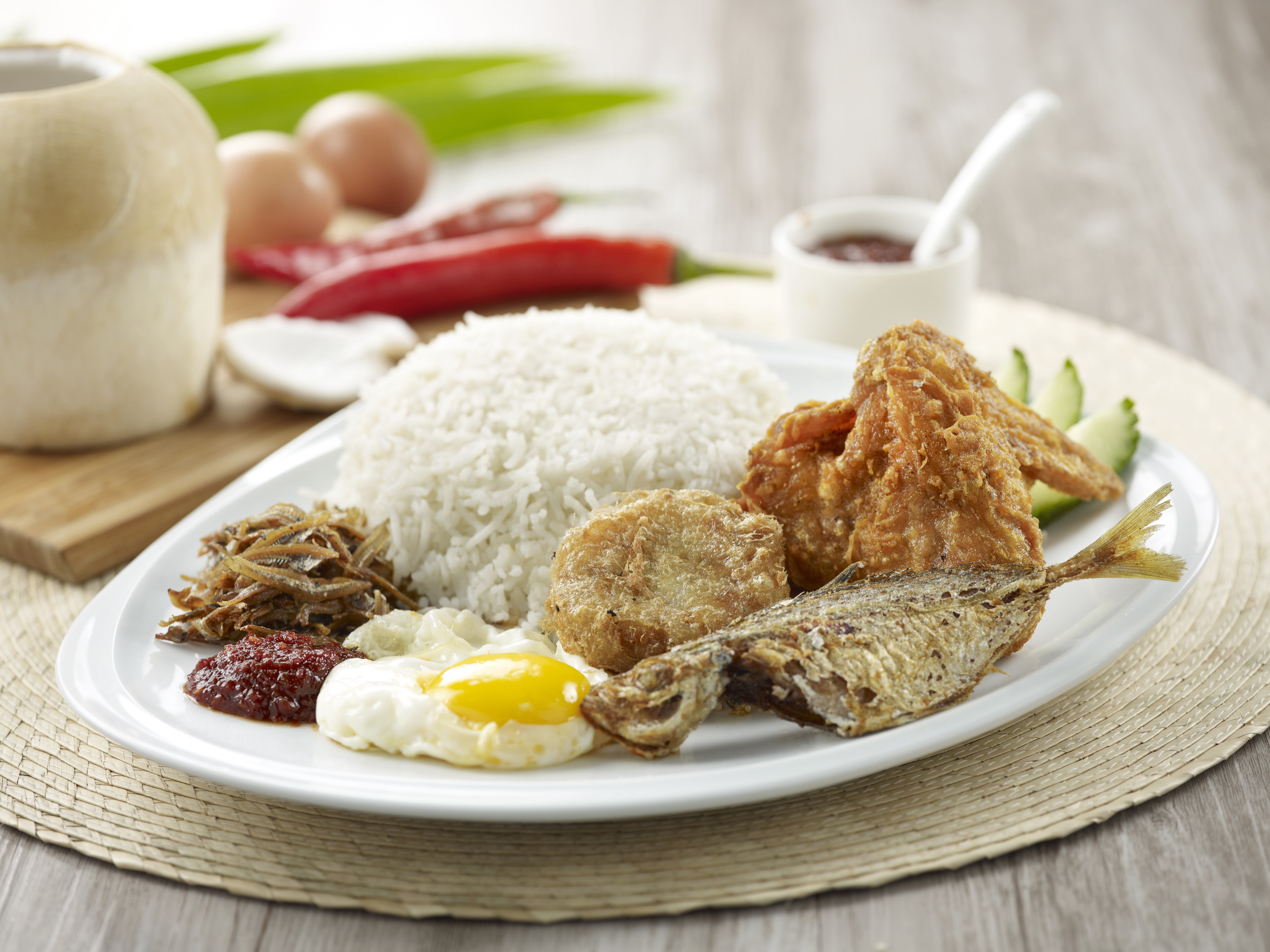 Crave the original adam road nasi lemak opens at ion orchard for Fish and chicken