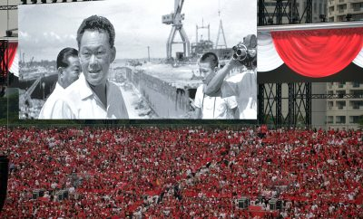 A tribute film honouring Singapore's founding prime minister, Mr Lee Kuan Yew, who passed away on 23 March 2015, shown on a screen at the National Day Parade (NDP) held at the Padang on 9 August 2015.
