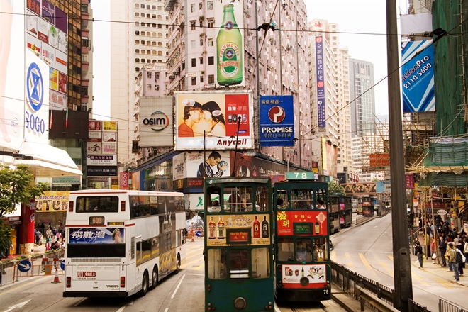 Trams and tall buildings in Hong Kong